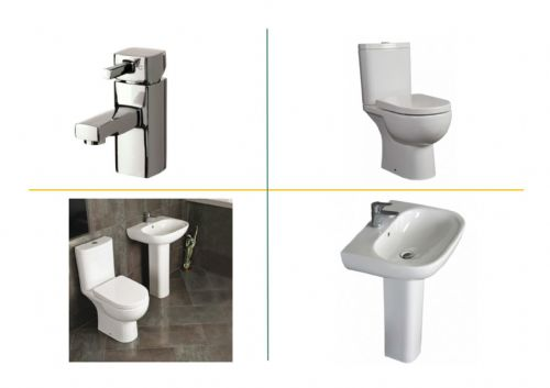 Designer Bathroom Suite White Inc Toilet & Basin
